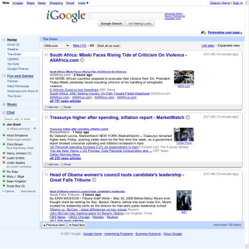 Test The New IGoogle, Google's Personalized Home Page