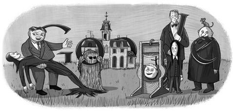 100º Aniversário de Charles Addams. Cortesia do Tee & Charles Addams Foundation.
