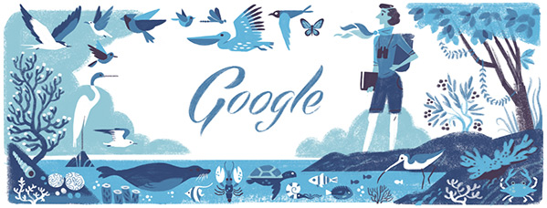 Google Doodle for May 27, 2014, honors scientist and writer Rachel Carson on what would have been her 107th birthday.