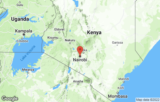 Map of Nairobi with roads and terrain