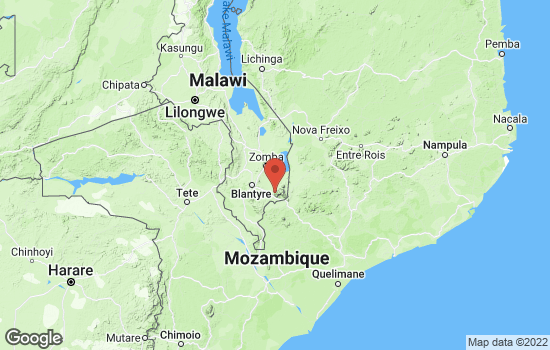 Map of Mulanje with roads and terrain