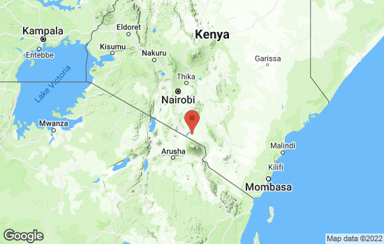 Map of Amboseli National Park with roads and terrain