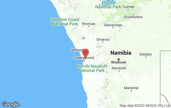 Map of Namib with roads and terrain