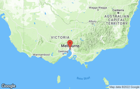 Map of Melbourne with roads and terrain
