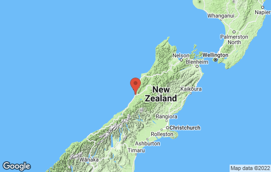 Map of Greymouth with roads and terrain