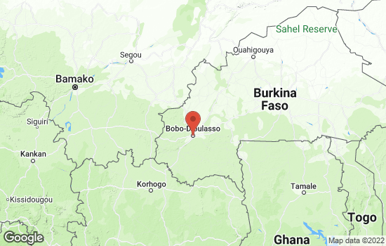 Map of Bobo-Dioulasso with roads and terrain