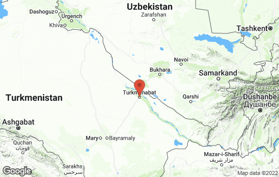 Map of Turkmenabat with roads and terrain
