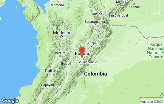 Map of Bogotá with roads and terrain