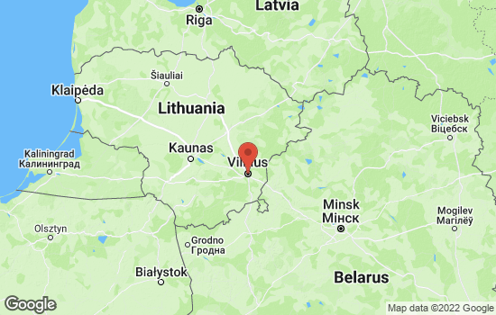 Map of Vilnius with roads and terrain