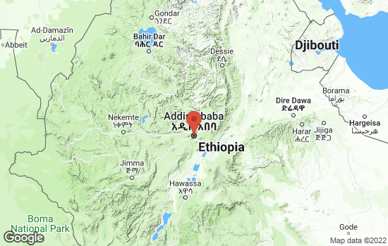 Map of Addis Ababa with roads and terrain