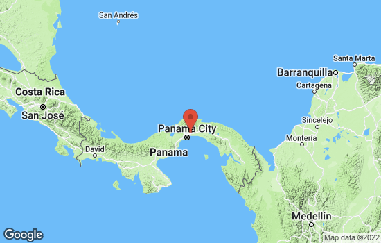 Map of Panama City with roads and terrain
