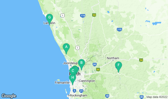 Map of things to do for a 3+ day itinerary in Perth
