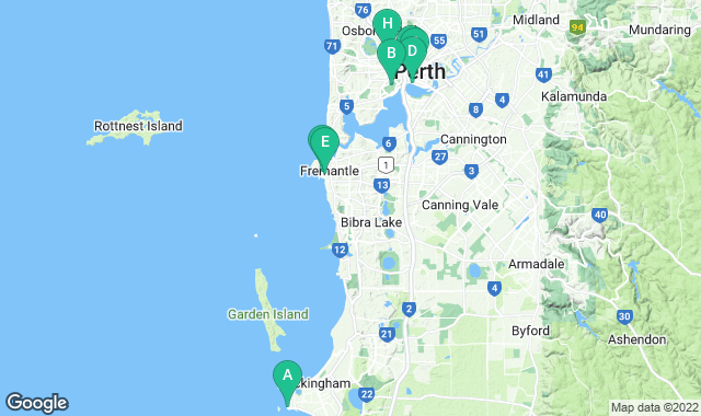 Map of free things to do in Perth