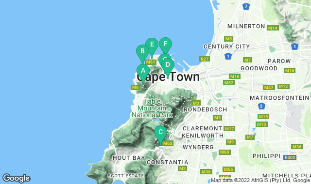 Map of free things to do in Cape Town
