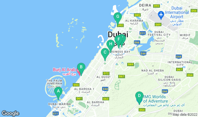 Map of things to do for a 3+ day itinerary in Dubai