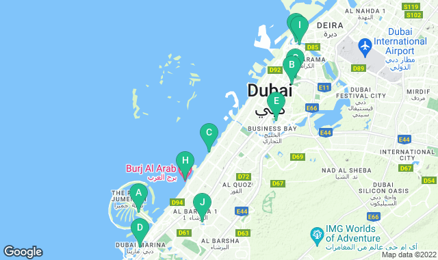 Map of free things to do in Dubai