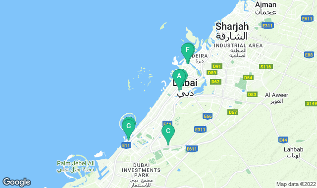 Map of things to do for a one-day itinerary in Dubai