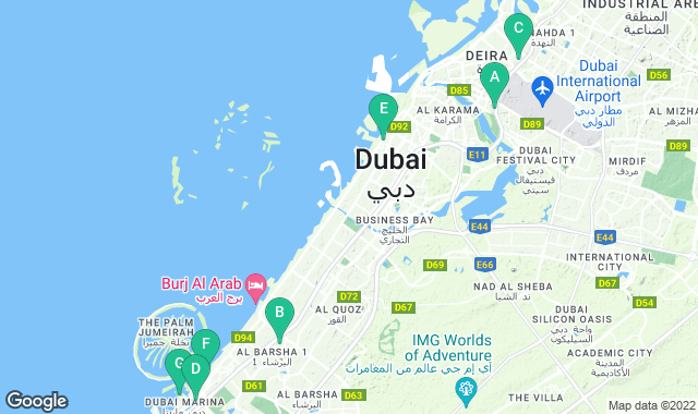 Map of things to do for a two-day itinerary in Dubai