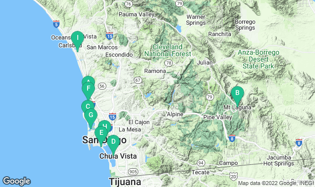 Map of things to do for a 3+ day itinerary in San Diego