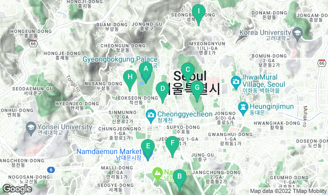 Map of things to do for a one-day itinerary in Seoul