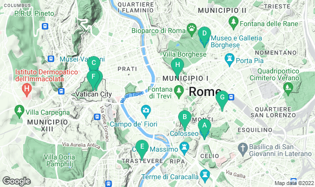 Map of things to do for a one-day itinerary in Rome