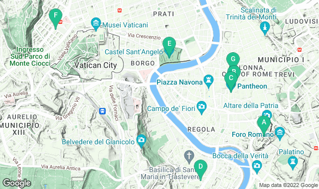 Map of things to do for a two-day itinerary in Rome