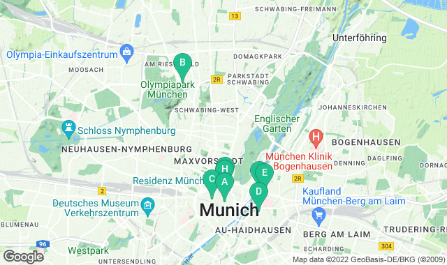 Map of things to do for a one-day itinerary in Munich