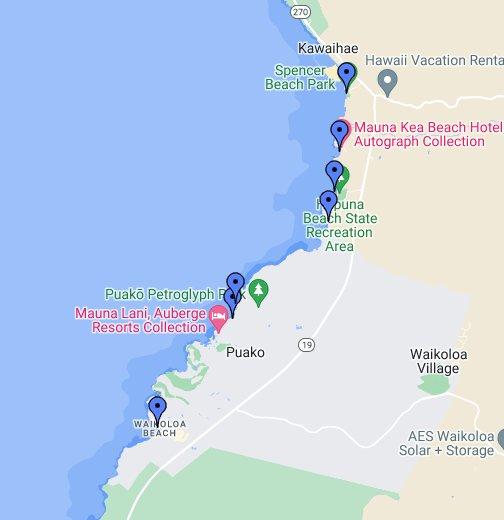 Kohala Coast Hawaii Map.Kohala Coast Beaches Google My Maps