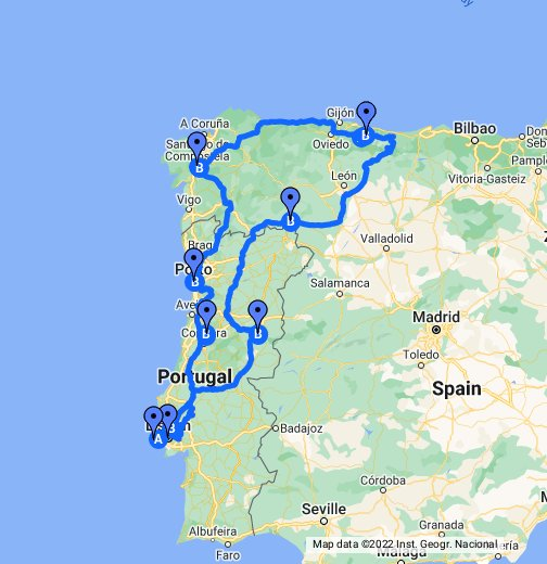 Portugal And Spain Google My Maps