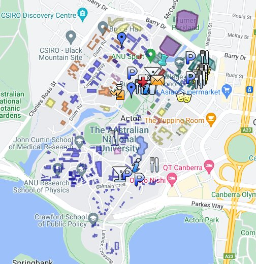 Anu Campus Map ANU Campus Map   Google My Maps