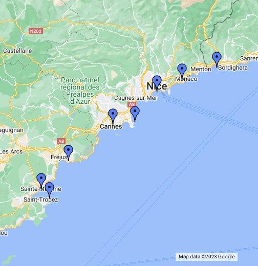 franska rivieran karta Franska Rivieran – Google Mina kartor franska rivieran karta