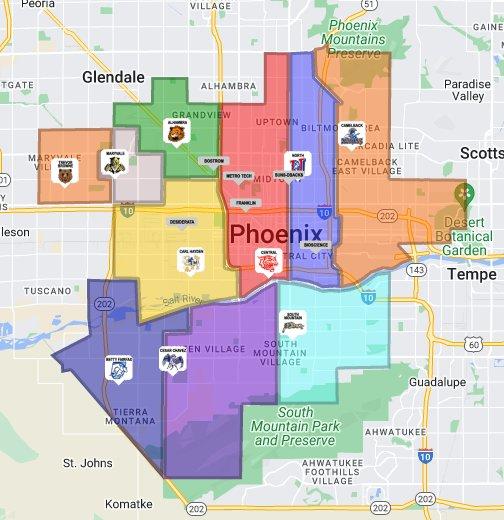 Phoenix High School District Map Phoenix Union High School District   Google My Maps