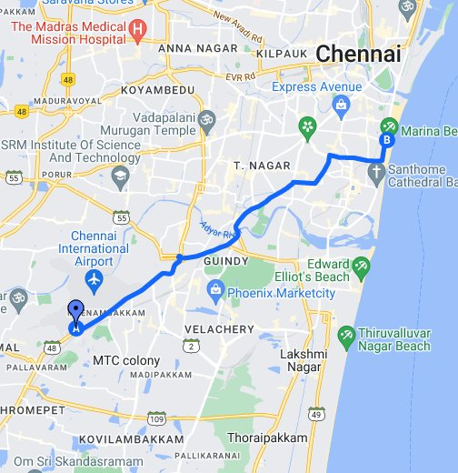 Driving directions to marina beach   Google My Maps
