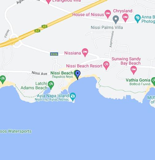 Karta Famagusta Cypern.Nissi Beach Ayia Napa Google My Maps