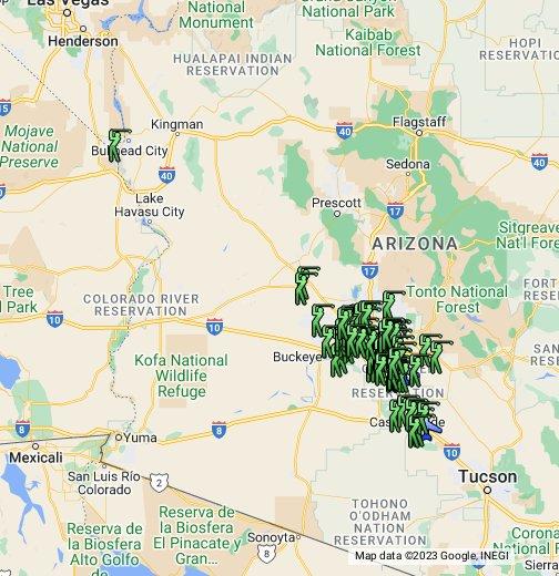 Map Of Arizona With National Parks.Phoenix Arizona Google My Maps