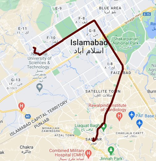 Rawalpindi Streets: Google My Maps
