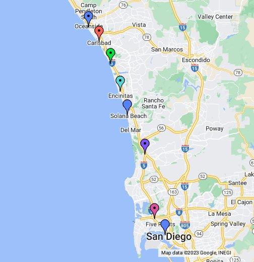 San go Coaster Train Map - Google My Maps Satellite Maps Of Oceanside Ca on streets in oceanside ca, weather oceanside ca, downtonw oceanside ca, aerial view oceanside ca, mapquest oceanside ca,
