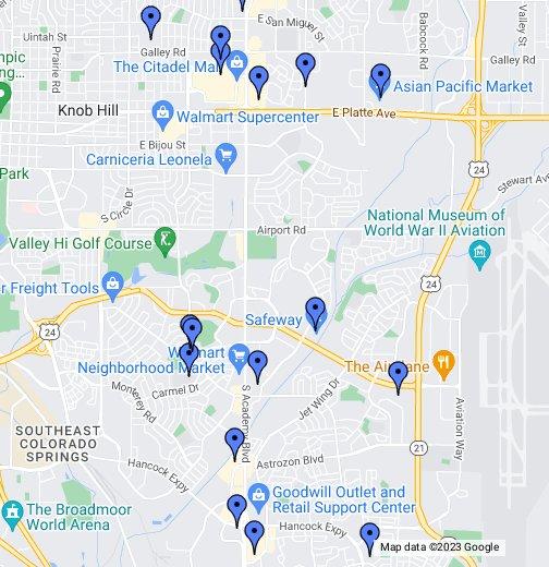 Southeast Colorado Springs Peterson AFB - Colorado road maps