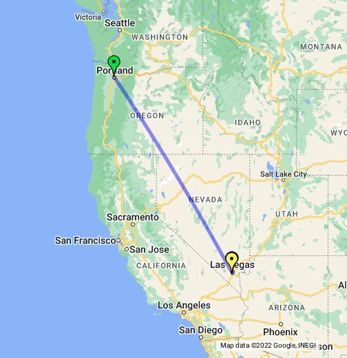 Portland - Las Vegas - Google My Maps