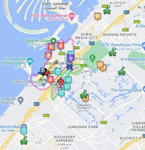 Jbr Dubai Map Dubai Marina, JBR & JLT   Google My Maps