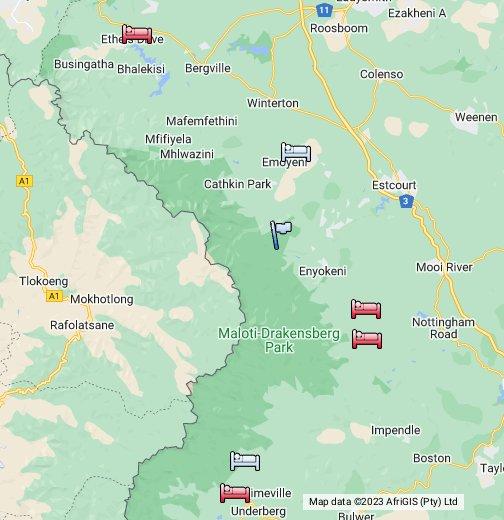 Drakensberg Mountains Map The Guide   Drakensberg   Google My Maps