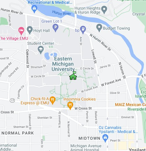 Eastern Michigan University - Google My Maps on moa campus map, hunter campus map, eastern washington university campus map, oakland u campus map, cow campus map, u of m campus map, ash campus map, eden campus map, eastern oregon university campus map, reebok campus map, eastern mennonite university campus map, university of richmond campus map, eastern university pa campus map, crane campus map, university of mary washington campus map, wmu campus map, wayne state campus map, tri-c west campus map, east carolina university campus map, delta college michigan campus map,