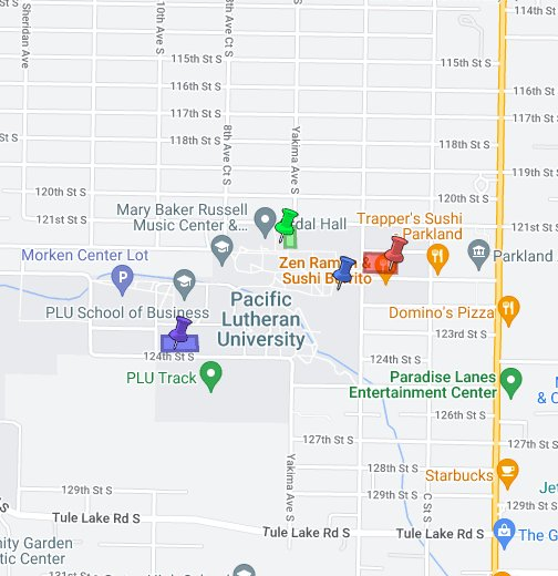 Pacific Lutheran University Campus Map.Pacific Lutheran University Google My Maps