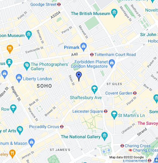 Map Soho London.Frith Street Google My Maps