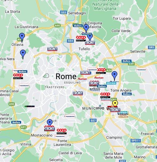 Cartina Roma Ciampino.Centri Commerciali E Supermercati Di Roma Google My Maps