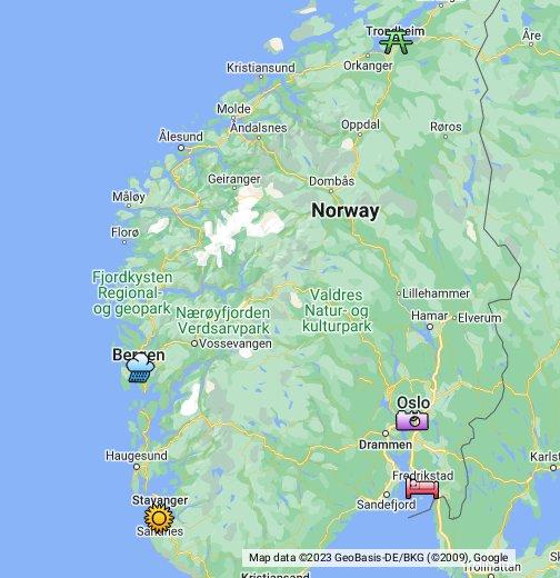 The Five Biggest Cities In Norway - Norway map data