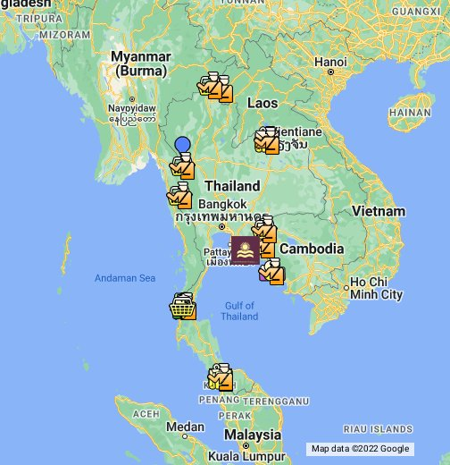 Nong Khai Thailand Map.Thailand Border Crossing Points Map Tourist Information Map To