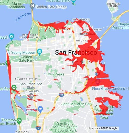 San Francisco Seismic Hazard Zones: Liquefaction - Google My Maps