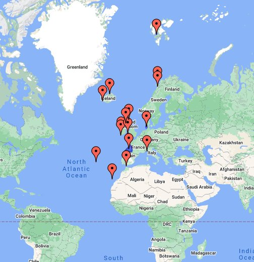 Cartina Mondo Google Maps.La Mappa Dei Migliori Punti Di Osservazione Europei Per Vedere I Cetacei Google My Maps