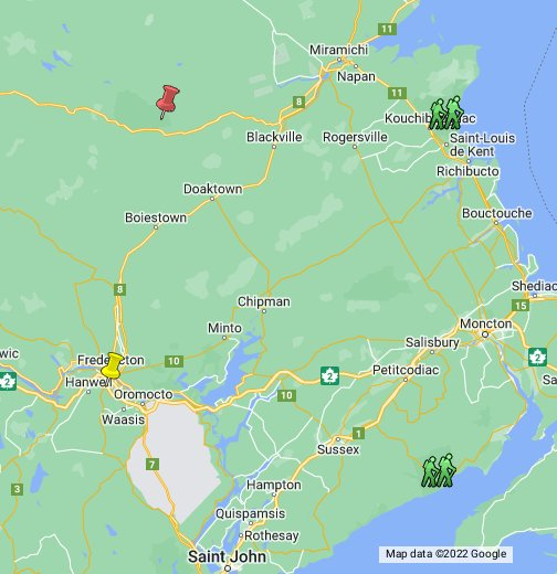 Google Map Of Canada And Provinces.The Province Of New Brunswick Canada Google My Maps
